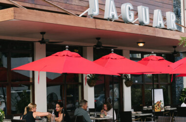 people dining outdoors at the Jaguar Restaurant in Coconut Grove