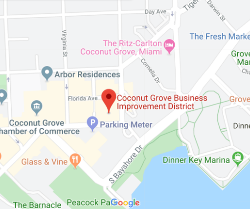 map of Coconut Grove and the Business Improvement District office location