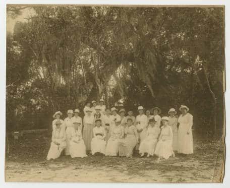 1917 vintage photo women club members in period white dress at yard