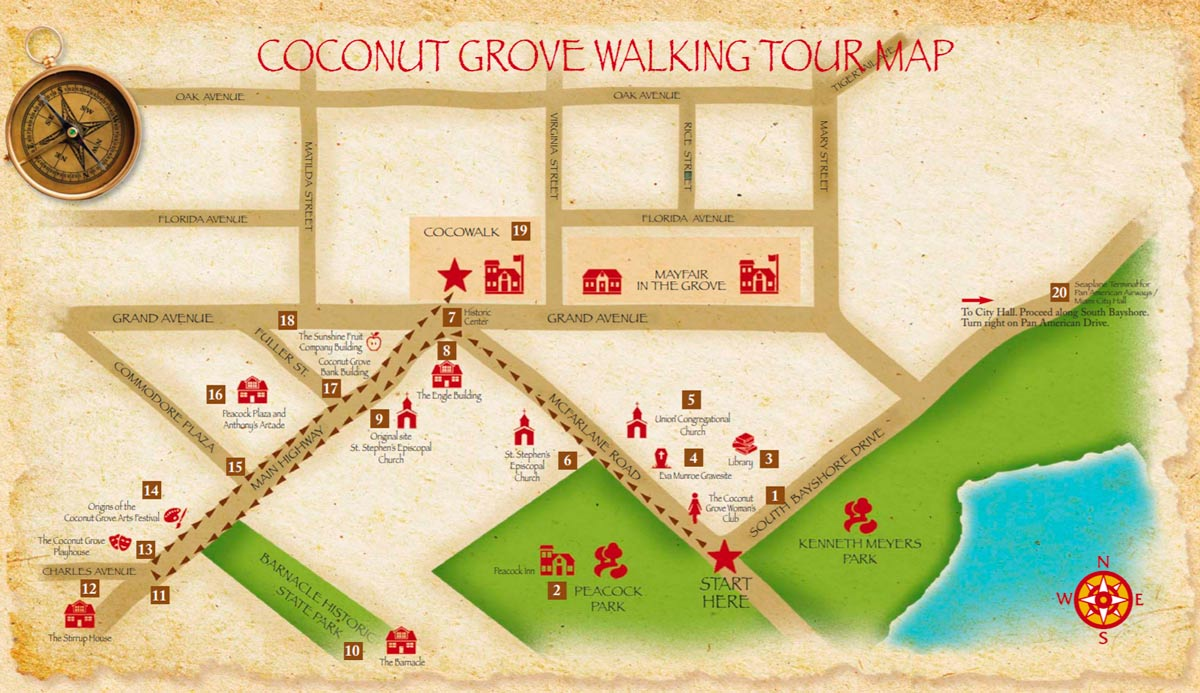 map of The Coconut Grove Historic Walking Tour