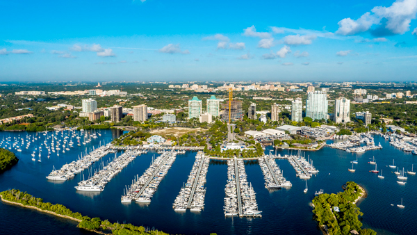 aerial view of coconut grove