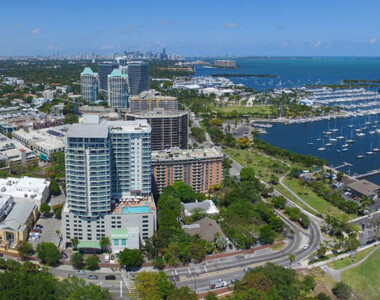 aerial view of the Coconut Grove Downtown skyline and waterfront